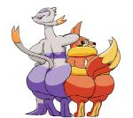 2017 ambiguous_gender anthro anthromaster big_butt brown_fur butt claws duo eyelashes floatzel fur grey_fur huge_butt kingly_(artist) looking_at_viewer looking_back mienshao multi_tail nintendo nude pokémon purple_fur raised_tail rear_view red_eyes simple_background size_difference smile sweat teeth thick_thighs toe_claws video_games white_background wide_hips yellow_fur
