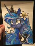 2016 crown dennyvixen equine eyeshadow female feral flower friendship_is_magic horn jewelry makeup mammal my_little_pony necklace plant princess_luna_(mlp) solo sparkles tongue tongue_out traditional_media_(artwork) unicorn  Rating: Safe Score: 24 User: 2DUK Date: April 09, 2016