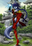 anthro biped blue_hair canid canine canis chinese clothing eastern footwear girly gloves hair handwear high_heels male mammal ming_(shadowzero20) pose practice river shadowzero20 shenyi shoes s-nina solo wolf