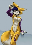 anthro blue_hair bodysuit breasts canine clitoris clothing cosplay digimon female fox fur fursuit hair kandlin looking_at_viewer mammal nipples nude pussy red_eyes renamon s'zira skinsuit smile solo white_fur yellow_fur   Rating: Explicit  Score: 15  User: Arkham_Horror  Date: May 11, 2015
