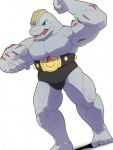 anthro belt biceps big_muscles bulge clothed clothing fangs flexing humanoid machoke male mammal muscular muscular_male nintendo open_mouth pecs pokémon shirosaru simple_background solo speedo swimsuit teeth toes tongue topless underwear video_games  Rating: Safe Score: 3 User: Notkastar Date: January 10, 2016