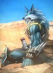 2019 absurd_res anthro armor biceps blue_body blue_eyes blue_fur bottomwear canid canine canis claws clothed clothing colored detailed_background digital_media_(artwork) erection fur genitals handwear hi_res humanoid_genitalia humanoid_penis looking_at_viewer male mammal masturbation muscular muscular_anthro muscular_male paladins pants penile penile_masturbation penis shaded sharp_teeth sitting solo teeth todex viktor_(paladins) were werecanid werecanine werewolf white_body white_fur wolf