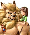 """anthro arm black_nose blue_eyes clothed clothing collar couple cute digimon eyes_closed fangs feline female fur guardian half-dressed happy human jeri_katou karabiner leomon lion mammal muscles nipples open_mouth pecs playing protector puppet relaxing size_difference smile toned topless  Rating: Safe Score: 3 User: Vanzilen Date: June 24, 2015"""""""