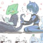 annoyed anthro blue_fur blue_hair bodysuit canine chameleon clothing duo female fox fur hair knife krystal leon_powalski lizard male mammal nintendo polearm reptile scalie short_hair sitting skinsuit staff star_fox text video_games weapon white_fur ユッカ   Rating: Safe  Score: 4  User: Cαnε751  Date: February 14, 2015