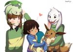 <3 asriel_dreemurr bente36 blush boss_monster caprine chara_(undertale) chikorita child crossover cyndaquil eevee fangs goat group hi_res human kissing leaf long_ears mammal nintendo pokémon protagonist_(undertale) simple_background stripes undertale video_games white_background young