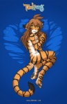 anthro blue_background blush breasts brown_hair butt casual_nudity chest_tuft convenient_censorship curled_tail curled_up digitigrade english_text featureless_breasts feline female flora_(twokinds) fur hair keidran long_hair looking_at_viewer lying mammal multicolored_fur nude on_side open_mouth orange_fur pawpads pillow simple_background smile solo striped_fur stripes text tiger toe_curl tom_fischbach tongue tuft twokinds webcomic white_fur yellow_eyes