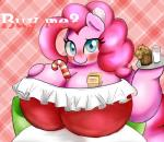 abstract_background anthro big_breasts blue_eyes blush braffy breasts candy candy_cane christmas cleavage clothed clothing digital_media_(artwork) earth_pony equine female food friendship_is_magic fur hair holidays hooves horse huge_breasts long_hair looking_at_viewer mammal milk muffin my_little_pony obese overweight pink_fur pink_hair pinkie_pie_(mlp) pony simple_background smile solo standing text  Rating: Questionable Score: 6 User: OptimalPrime Date: January 28, 2015