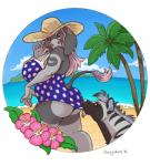 """anthro beach black_sclera butt chewycuticle chubby clothing cloud donkey duo ear_piercing equine female feral gauged_ear hat hyena kaizeh knoah looking_back mammal outside piercing seaside sky solo_focus standing striped_hyena swimsuit voluptuous  Rating: Safe Score: 8 User: beartraps Date: March 26, 2015"""""""