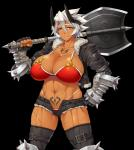 axe big_breasts breasts brown_skin cleavage clothed clothing denkishowgun female fingerless_gloves gloves hair horn huge_breasts looking_at_viewer monster monster_girl muscles navel not_furry oni scar solo tattoo thick_thighs weapon white_hair   Rating: Safe  Score: 11  User: Juni221  Date: March 27, 2015