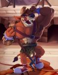 4_fingers abs anthro armor armpit_hair armwear azul_(artist) biceps black_nose brown_hair bulge clothed clothing footwear hair harness helmet holding_object holding_weapon licking licking_lips loincloth looking_at_viewer male mammal marsupial melee_weapon muscular muscular_male nipples orange_body pecs polearm rubberskunktoo sharp_teeth shoes sneakers solo spectral-bat standing teeth thylacine tiny_tiger tongue tongue_out trident weaponRating: QuestionableScore: 6User: PokelovaDate: July 26, 2017