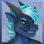 2018 black_horn blue_eyes blue_hair blue_nose cool_colors digital_media_(artwork) dragon earthstorm fangs hair headshot_portrait horn kael_tiger long_ears looking_at_viewer male portrait reptile safe scalie sharp_teeth simple_blackground smile solo teeth two_toneRating: SafeScore: 4User: bunnybessDate: February 20, 2018