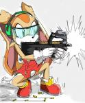2015 akatsukishiranui-fox anthro cream_the_rabbit female gun lagomorph mammal p90 rabbit ranged_weapon rifle solo sonic_(series) weapon young   Rating: Safe  Score: 9  User: Robinebra  Date: April 21, 2015