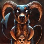 2018 ambiguous_gender black_nose brown_theme canid canid_demon demon demonic feral front_view hellhound horn houndoom kenket looking_at_viewer mammal nintendo pokémon pokémon_(species) realistic restricted_palette skull solo spade_tail video_games white_eyesRating: SafeScore: 61User: WadxxxDate: July 05, 2018