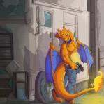 anthro blue_eyes charizard claws clothed clothing collar erection fuf half-dressed male nintendo orange_skin penis pokémon pose raised_arm smile solo tucker undressing video_games wings  Rating: Explicit Score: 14 User: Pasiphaë Date: November 07, 2015