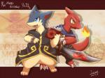 ambiguous_gender anthro blue_eyes book cape charmeleon claws clothing duo fire ivan-jhang necklace nintendo open_mouth pokémon quilava runes smile standing sword video_games weapon yellow_eyes   Rating: Safe  Score: 5  User: UNBERIEVABRE!  Date: June 25, 2014
