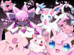 <3 ambiguous_gender clefairy crystal cute diamond_(gem) diancie eeveelution feral gem gradient_background group jigglypuff legendary_pokémon looking_at_viewer mineral_fauna nintendo pink_theme pokémon renge-kemo simple_background snubbull spritzee swirlix sylveon video_games
