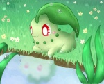 :3 blush chikorita cute female feral flower fuwante-chan lake leaves nintendo outside plant pokémon pokémon_(species) red_eyes solo video_games water