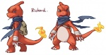 alasurth ambiguous_gender backpack bandage blue_eyes charmeleon english_text fire lizard looking_at_viewer nintendo open_mouth pokémon reptile richard scalie scar scarf solo teeth text video_games  Rating: Safe Score: 3 User: DeltaFlame Date: February 18, 2015""