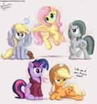 applejack_(mlp) blonde_hair blue_eyes bugplayer clothing cup cute cutie_mark derpy_hooves_(mlp) dialogue earth_pony equine feathered_wings feathers female feral fluttershy_(mlp) freckles friendship_is_magic fur green_eyes grey_feathers grey_fur grey_hair group hair hat hi_res hoodie horn horse mammal marble_pie_(mlp) multicolored_hair my_little_pony pegasus pink_hair pony purple_eyes purple_feathers purple_fur shy sweater twilight_sparkle_(mlp) winged_unicorn wings yellow_feathers  Rating: Safe Score: 17 User: QuetzalcoatlColorado Date: April 15, 2016
