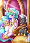 2015 armor cat crown duo equine fan_character feline female feral friendship_is_magic hi_res horn male mammal my_little_pony princess_celestia_(mlp) sitting throne unicorn vavacung winged_unicorn wings   Rating: Safe  Score: 3  User: Robinebra  Date: May 23, 2015