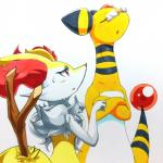 025aki absurd_res ambiguous_gender ampharos anthro blush braixen breasts crossed_arms eyes_closed eyewear female feral glasses half-closed_eyes hi_res nintendo nude open_mouth pokémon pokémon_(species) red_eyes side_view simple_background small_breasts standing stick sweat traditional_media_(artwork) video_games white_background