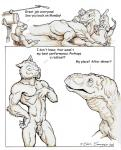 2002 ambiguous_gender anthro anus armband being_watched chris_sawyer comic dialogue dinosaur english_text feline feral flaccid humanoid_penis humor interspecies larger_feral male mammal monochrome nude penis predator/prey_relations prey_for_me_(comic) raptor saber-toothed_cat scalie sepia text toned  Rating: Explicit Score: 14 User: talonfire99 Date: October 29, 2015