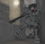 aiming anthro armor building canine claws gears_of_war holding_object holding_weapon inside male mammal moon night outside pav sniper solo standing video_games weapon wolf