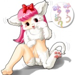 anthro blush bow cat cub digitigrade edmol feline female fluffy fur hair hair_bow human humanoid_feet japanese_text looking_at_viewer mammal mid-transformation pawpads paws pink_hair plantigrade red_eyes red_hair simple_background sitting solo speech_bubble text tongue tongue_out transformation white_background white_fur young  Rating: Questionable Score: 3 User: PheagleAdler Date: January 27, 2012