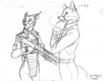 anthro armor canine caracal cat duo feline female fox gun jonathan_porter male mammal ranged_weapon rifle scott_ruggels weapon  Rating: Safe Score: 1 User: Kiruki Date: April 16, 2010