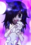 ambiguous_gender anime black_hair cat clothing feline female feral fur green_eyes hair happy human kuroki_tomoko long_hair mammal messy_hair shirt smile solo watamote   Rating: Safe  Score: 2  User: Catachan  Date: February 15, 2014