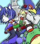 amphibian anthro blue_fur canine falco_lombardi female fox fox_mccloud frog fur group krystal lagomorph male mammal nintendo peppy_hare rabbit slippy_toad star_fox unknown_artist video_games  Rating: Safe Score: 0 User: Cαnε751 Date: June 14, 2015""