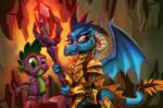 2016 armor cave dragon duo female feral friendship_is_magic hair harwick hi_res horn inside looking_at_viewer lord_ember_(mlp) male mammal membranous_wings my_little_pony rock scalie scepter smile spike_(mlp) wings  Rating: Safe Score: 20 User: ConsciousDonkey Date: April 19, 2016