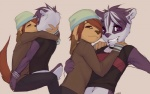 anthro badger beanie brown_eyes canine clothed clothing collar dog doxy duo fur girly grin hat hug kissing male male/male mammal markings marty mustelid piercing purple_eyes purple_fur romantic_couple smile sweater taylor_(onta)Rating: SafeScore: 54User: rachelDate: July 03, 2010