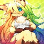 blonde_hair blue_eyes canine clothing female fox green_hair hair kemono kishibe long_hair mammal multicolored_hair swimsuit   Rating: Questionable  Score: 6  User: KemonoLover96  Date: May 05, 2015