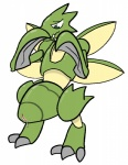 3_toes arthropod female feral green_eyes insect insect_abdomen_pussy nintendo pokémon pussy pussy_juice scyther semi-anthro simple_background solo toes trout_(artist) video_games white_background
