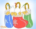 avian bird butt christmas christmas_stocking clothing colored_sketch dewey_duck digital_drawing_(artwork) digital_media_(artwork) disney duck feathers group harara hi_res holidays huey_duck legwear louie_duck signature simple_background sleeping snowflake sound_effects tail_feathers webbed_feet white_feathers zzz