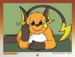 ambiguous_gender brown_eyes canvaskat feral hi_res looking_at_viewer lying nintendo on_front open_mouth pokémon raichu smile solo video_games  Rating: Safe Score: 6 User: chdgs Date: May 16, 2015""