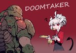 5_fingers ? apron armor candy chocolate clothing crossover demon doom_(series) doom_guy duo english_text eyebrows female fingers food food_in_mouth hair hair_bun helltaker hi_res holding_fork holding_object holding_plate horn human humanoid id_software karasu_chan looking_at_another lucifer_(helltaker) male mammal mole_(marking) not_furry pancake plate red_background red_eyes simple_background spade_tail text text_on_apron text_on_clothing text_on_topwear topwear video_games white_body white_eyebrows white_hair white_horn white_skin