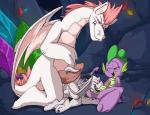 2015 all_fours anal anus balls cave dragon fizzle_(mlp) friendship_is_magic fuf green_eyes group group_sex half-closed_eyes horn kneeling knot male male/male my_little_pony open_mouth oral penis rimming scalie sex size_difference spike_(mlp) spread_legs spreading threesome tongue vein wings young   Rating: Explicit  Score: 10  User: lemongrab  Date: February 15, 2015
