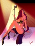 big_breasts braided_hair breasts cleavage clothed clothing crossover female hair human jessica_rabbit jimsam-x leia long_hair mammal metal_bikini microphone sitting skimpy slave_leia star_wars who_framed_roger_rabbit   Rating: Questionable  Score: 12  User: Ratty  Date: April 23, 2011