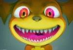 ambiguous_gender big_eyes big_head bust_portrait creepy cute darkdoomer fangs looking_at_viewer nightmare_fuel open_mouth patachu portrait red_eyes scary smile solo teeth throat yellow_body