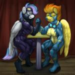 anthro anthrofied arm_wrestling big_muscles blitzstar clothing duo eyewear fan_character feathered_wings feathers female friendship_is_magic goggles hovering muscular muscular_female my_little_pony nipple_bulge nipples rubber shadowbolt shiny skinsuit smudge_proof spitfire_(mlp) sweat tight_clothing wings wonderbolts_(mlp)  Rating: Questionable Score: 3 User: Smudge_Proof Date: September 15, 2015