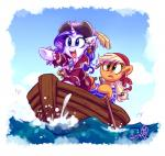 applejack_(mlp) blonde_hair blue_eyes boat clothing duo earth_pony equine female feral freckles friendship_is_magic fur green_eyes hair hat horn horse long_hair mammal my_little_pony oar pirate pony purple_hair rarity_(mlp) unicorn vehicle whitediamonds  Rating: Safe Score: 10 User: QuetzalcoatlColorado Date: April 05, 2016