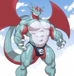 2016 anthro biceps bulge clothed clothing digital_media_(artwork) dragon looking_at_viewer male mammal muscular muscular_male nintendo pecs pokémon salamence scalie sky solo toomanyboners topless video_games wings