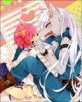 2013 <3 anthro belt blue_eyes blush bow_tie bracelet canine chest_tuft clothed clothing eye_contact female fully_clothed fur grey_fur hair hand_on_face hoshizora_miyuki human jewelry kneeling long_hair male mammal open_mouth paritobari pink_eyes pink_hair pretty_cure saliva sitting skirt smile_pretty_cure tongue tongue_out tuft white_hair wolf wolfrunRating: SafeScore: 4User: vex714Date: December 18, 2017