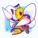 ambiguous_gender antennae anthro arthropod bee beedrill cute insect insect_wings insectoid looking_at_viewer nintendo one_eye_closed pokémon pokémon_(species) red_eyes solo stinger stripes the-chu video_games wings wink