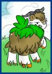 blue_border bunearyk butt caprine chewing cloud female feral grass half-closed_eyes hi_res horn looking_back mammal nintendo outside pokémon presenting presenting_hindquarters raised_tail rear_view skiddo solo video_games