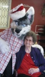 2010 anthro canine christmas cross dog duo female fursuit grandma hat holidays human husky male mammal nyappy real santa_hat siberian_husky unknown_artist  Rating: Safe Score: 0 User: WolfieWolfie1992 Date: December 24, 2010