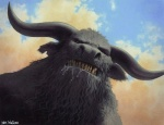 anthro bust_portrait close-up cloud cloudscape drooling fur grey_fur horn kev_walker looking_at_viewer low-angle_shot magic_the_gathering male minotaur official_art outside portrait saliva sky snarling solo   Rating: Safe  Score: 2  User: Circeus  Date: December 21, 2014