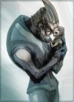 2011 abstract_background alien ambiguous_gender baby clothed clothing cub duo eyes_closed father garrus_vakarian horn male mass_effect nude parent rinpoo_chuang scar simple_background standing turian video_games young  Rating: Safe Score: 10 User: Mutisija Date: January 17, 2016